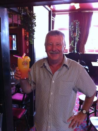 Our hero Brian, having finished writing his Throop report, relaxes in the Royalty Inn with a pint of his 'usual'