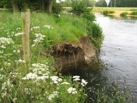 Bank damage at Glens Weir
