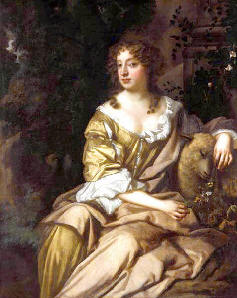 Nell Gwyn with a basket of unpeeled oranges