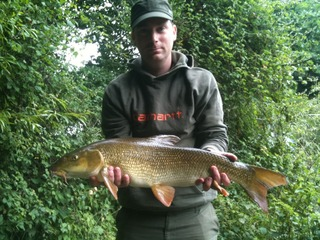 Phil with his next barbel and first double at 10lb 13oz