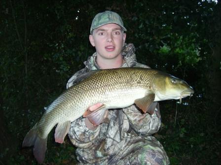 Scott Mosley with his new PB barbel of 9lb 10oz