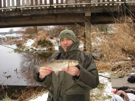 Sean Dent with a hard earned chub caught in freezing conditions