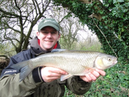Stuart Jupp with a chub of 5lb taken despite the dreadful conditions
