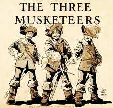 The Three Musketeers dreased ready to go into action on the banks of Throop