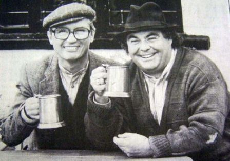 Little & Large enjoying a quiet pint together after a hard days fishing on Throop.