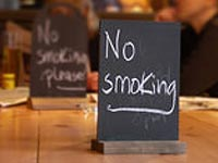 no smoking signs being prepared for Phil's next Throop visit