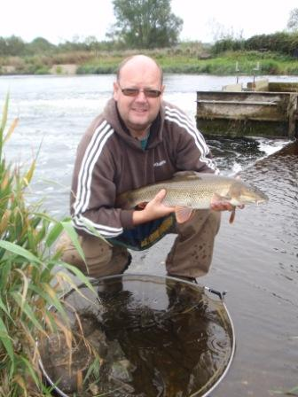 Allan Smallbones with a lovely 5lb 3oz barbel taken on trotted sweetcorn