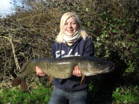 Christina Wilkins landed a new pb pike weighing 18lb 12oz