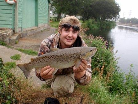 Chris Carter with a 5lb 9oz sea trout from the Boathouse