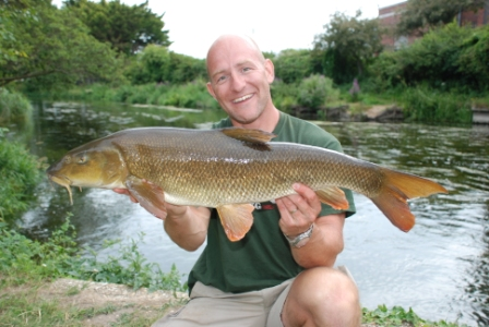 Danny with a lovely 10lb 14oz barbel from the Parlour