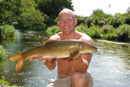 Danny with his second barbel of the session which went 8lb 2oz