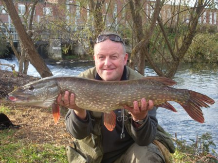Gary Truelove with a 14lb 8oz pike from below the Little Weir