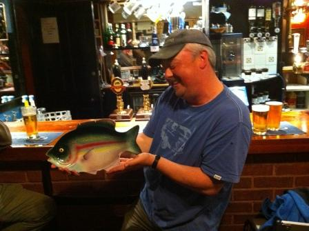 Jeff Edisbury with the best fish of his session in the pub