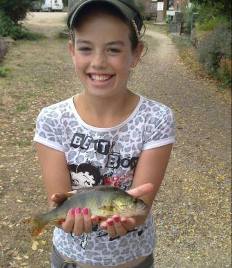 Katelyn Lewis with her first ever perch