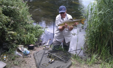 Keith Arthur shows off one of the barbel he took from the Parlour whilst filming for Sky TV