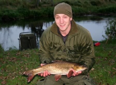 Jonathon Brownett with his first ever barbel caught float fishing.