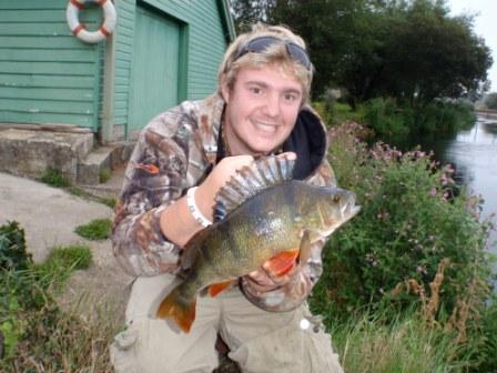 Chris Carter with a beautiful perch from the Boathouse