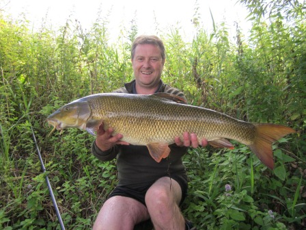 Philip Cudley with his new pb barbel weiging 13lb 10oz