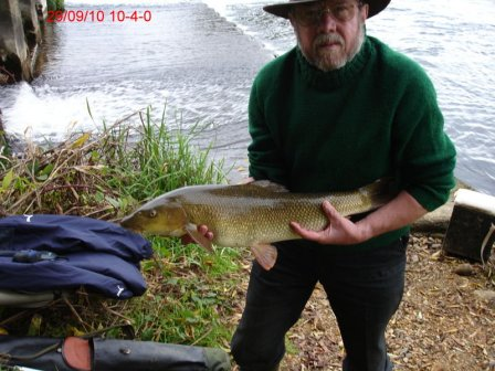 Richard Sherlock with the first of his three doubles weighing 10lb 4oz.