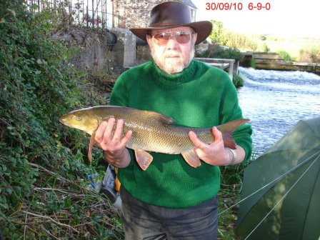 Richard Sherlock with the smallest barbel of his trip at 6lb-9oz