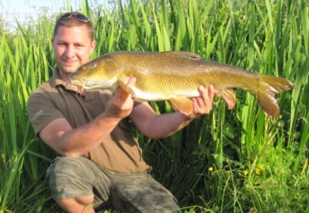 Stuart Andrews with a cracking 13lb 1oz barbel