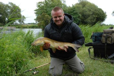"""Large Dave"" with a nice barbel from the Great Weir"